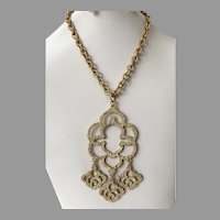 1960's Mod Chunky Textured Gold Tone Pendant Necklace