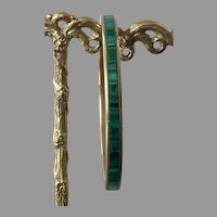 Vintage Brass & Malachite Narrow Bangle Bracelet