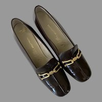 1960's I. Miller Brown Patent Leather Pumps With Gold Tone Buckles Never Worn