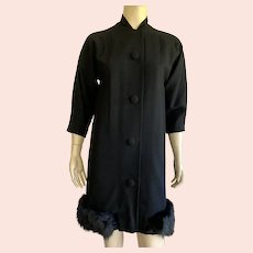 Vintage Wool Black Coat With Rabbit Fur Trim