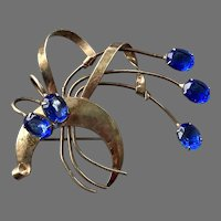 REDUCED 1940's Retro Sterling Vermeil Floral Spray Pin Blue Stones