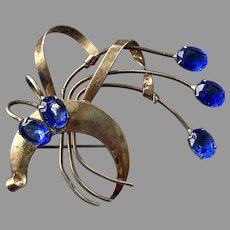 1940's Sterling Silver Gold Vermeil Floral Spray Pin Blue Stones