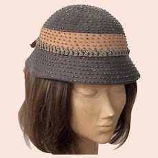 Brown Felt Hat With Grosgrain Ribbon Soutache Braiding and Beads