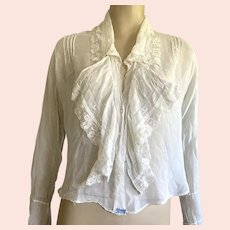 Victorian / Edwardian White Cotton Mousseline Hand Made Blouse Embroidered Pintucks Lace