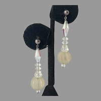 Sterling & Clear Crystal Pierced Beaded Dangle Earrings