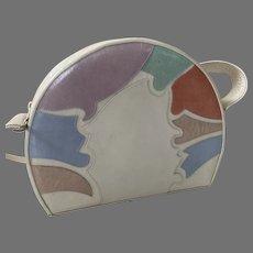 Stuart Weitzman Pastel Leather Shoulder Bag Purse Made In Spain