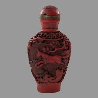 Vintage Chinese Carved Red Cinnabar Snuff Bottle