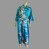 Chinese Turquoise Robe With Flowers & Peacocks Pattern