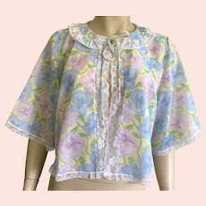 Vintage Pastel Floral Bed Jacket By Corhan Noumair Size M