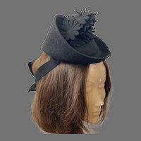 1940's Black Felt Glenover Tilt Hat Made In USA