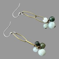 Jade Bead and Brass Dangle Pierced Earrings