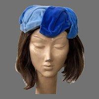 REDUCED Vintage 1950's Blue Velvet Hat B. Altman & Co.
