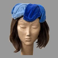 Vintage 1950's Blue Velvet Hat B. Altman & Co.
