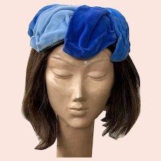 Vintage 1950's Blue Velvet Hat B. Altman & Co.