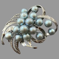 Japanese Sterling Blue Gray Pearl Pin