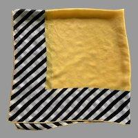 1960's Glentex Silk Black Yellow White Square Scarf Made In Japan