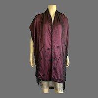 Vintage Burgundy Silk Beaded Evening Scarf / Shawl