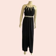 1970's Black & Gold Lame Grecian Style Long Dress