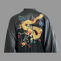 Vintage Chinese Hand Embroidered Black Silk Robe With Dragon