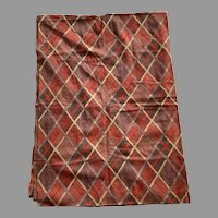 Vintage 1970's Double Knit Sewing Fabric Yardage Red Tan Gray Brown