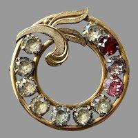 Vintage Gold Tone Birthstone Rhinestone Pin