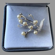 Sterling Faux Pearl Simulated Diamond Pin