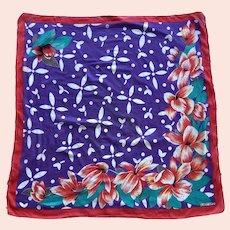 Albert Nipon Cotton Tropical Flower Scarf Made In Japan