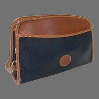 REDUCED Vintage Dooney & Bourke Black & British Tan Top Zipper Shoulder Bag Purse