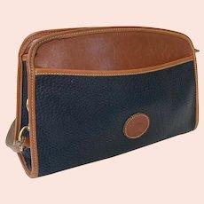 Vintage Dooney & Bourke Black & British Tan Top Zipper Shoulder Bag Purse