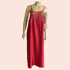 Magenta Polyester Nightgown by Dentelle Size X Large New Old Stock