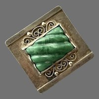 Vintage Early Sterling Mexican Ribbed Green Jade Pin