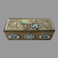 Chinese Brass Soapstone Cloisonne Enamel Stamp Box