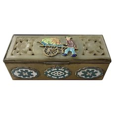 REDUCED Chinese Brass Soapstone Cloisonne Enamel Stamp Box