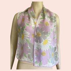Vera Silk Chiffon Floral Oblong Scarf Pastel Colors