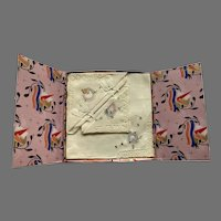 Two Vintage Embroidered Hankies In Art Deco Presentation Box