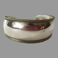 Mexican Sterling & Brass Cuff Bracelet