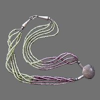 Glass Beaded Five Strand Necklace With Spider In Web Pendant