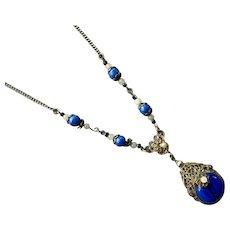 1920's Czech Brass Filigree Blue Glass Pendant Necklace