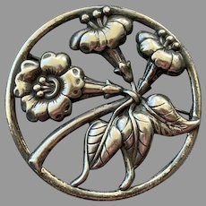 Large Mid-Century Danecraft Sterling Round Floral Frame Pin