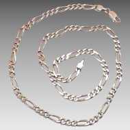 Italian Sterling Figaro Chain 18.50 Inches 13.85 Grams