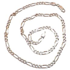 Sterling Figaro Chain Italy 18.50 Inches 13.85 Grams