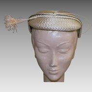 1950's Vintage Natural Straw Hat With Ostrich Feathers