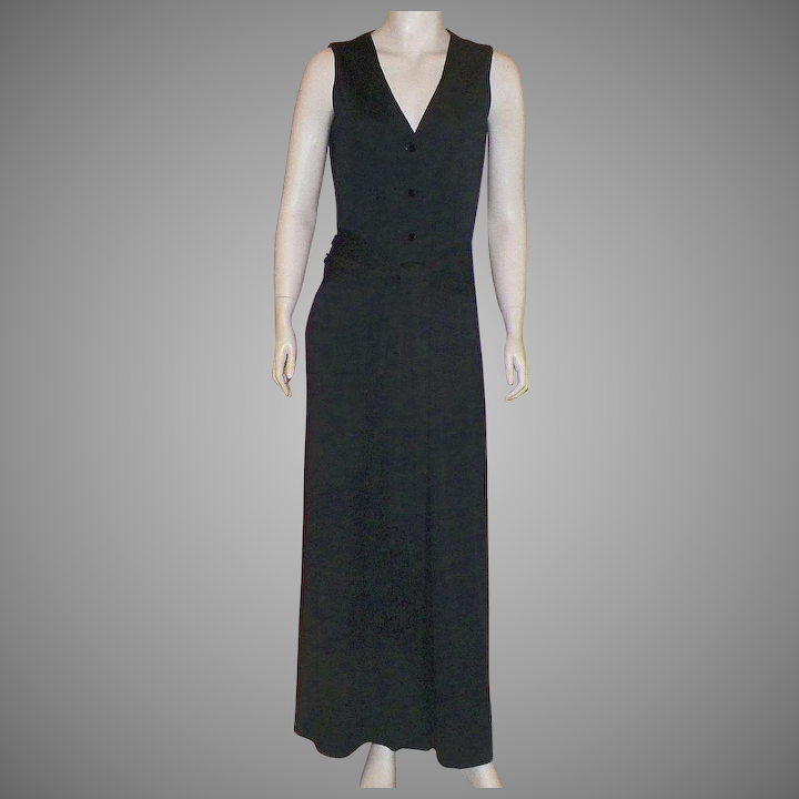 54945abc290 Vintage Victor Costa Long Black Jersey Maxi Dress With Fringed Belt    KLMAntiques
