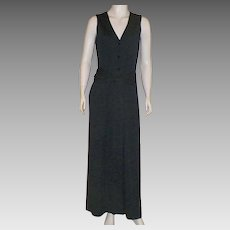 Vintage Victor Costa Long Black Jersey Maxi Dress With Fringed Belt 1970's
