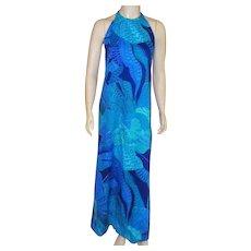 Vintage Hawaiian Custom Made Long Halter Dress 1960's
