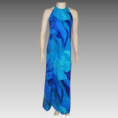 Vintage Hawaiian Custom Made Long Halter Dress 1960's
