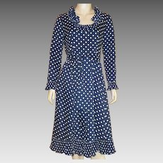Vintage Victor Costa Navy Blue and White Polka Dot Dress 1970's