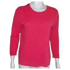 Peck and Peck Tomato Red Pure Cashmere Cable Knit Sweater