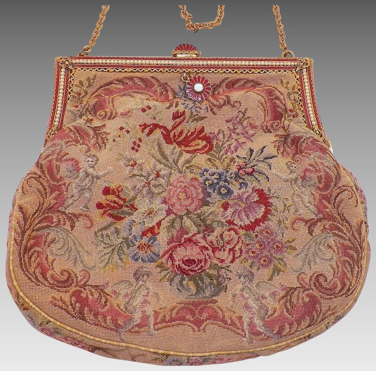 Vintage Flowers and Cherubs Needlepoint Purse With Enamel and Faux ...