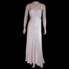 Vintage 1920's Silk Light Peach Bias Cut Nightgown With Light Blue Applique